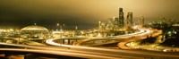 "Buildings lit up at night, Seattle, Washington State, USA by Panoramic Images - 27"" x 9"""
