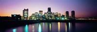 Buildings lit up at dusk, Boston, Suffolk County, Massachusetts, USA Fine Art Print