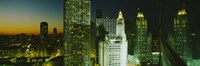 """Close-Up of Chicago at Night by Panoramic Images - 27"""" x 9"""""""