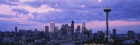 """Seattle Skyline with Purple Sky and Clouds by Panoramic Images - 27"""" x 9"""""""
