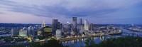 "Buildings lit up at night, Monongahela River, Pittsburgh, Pennsylvania, USA by Panoramic Images - 27"" x 9"""