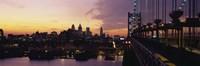 "Bridge over a river, Benjamin Franklin Bridge, Philadelphia, Pennsylvania, USA by Panoramic Images - 27"" x 9"""