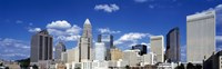 """Skyscrapers in a city, Charlotte, Mecklenburg County, North Carolina, USA by Panoramic Images - 27"""" x 9"""""""