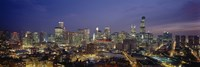 "High Angle View Of Buildings Lit Up At Dusk, Chicago, Illinois, USA by Panoramic Images - 27"" x 9"""