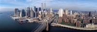 "Aerial view of Brooklyn Bridge and Manhattan skyline, New York City, New York State, USA by Panoramic Images - 27"" x 9"""
