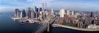 Aerial view of Brooklyn Bridge and Manhattan skyline, New York City, New York State, USA Fine Art Print