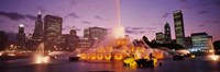 """Fountain lit up at dusk in a city, Chicago, Cook County, Illinois, USA by Panoramic Images - 27"""" x 9"""", FulcrumGallery.com brand"""