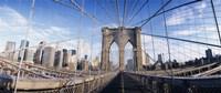 "Railings of a bridge, Brooklyn Bridge, Manhattan, New York City, New York State, USA, (pre Sept. 11), 2001 by Panoramic Images, 2001 - 27"" x 9"""
