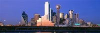 """Night skyline, Dallas, Texas by Panoramic Images - 27"""" x 9"""""""