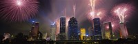 """Fireworks Over Buildings In Houston, Texas by Panoramic Images - 27"""" x 9"""""""