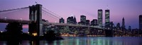 "Brooklyn Bridge at night, New York by Panoramic Images - 27"" x 9"""