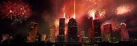 """Fireworks over buildings in a city, Houston, Texas by Panoramic Images - 27"""" x 9"""", FulcrumGallery.com brand"""