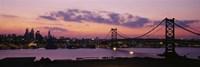 "Bridge across a river, Ben Franklin Bridge, Philadelphia, Pennsylvania, USA by Panoramic Images - 27"" x 9"""