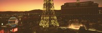 """Paris Hotel and Eiffel Tower, Las Vegas by Panoramic Images - 27"""" x 9"""""""