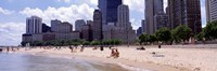 """Group of people on the beach, Oak Street Beach, Chicago, Illinois, USA by Panoramic Images - 27"""" x 9"""""""