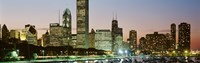 """Buildings lit up at night, Chicago, Cook County, Illinois, USA by Panoramic Images - 27"""" x 9"""", FulcrumGallery.com brand"""