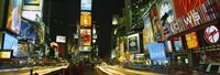 """Neon boards in a city lit up at night, Times Square, New York City, New York State, USA by Panoramic Images - 27"""" x 9"""""""
