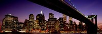 "Night Brooklyn Bridge Skyline New York City NY USA by Panoramic Images - 27"" x 9"""