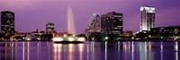 View Of A City Skyline At Night, Orlando, Florida, USA Framed Print