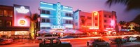 "Buildings Lit Up At Night, South Beach, Miami Beach, Florida, USA by Panoramic Images - 27"" x 9"""