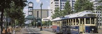 """View Of A Tram Trolley On A City Street, Court Square, Memphis, Tennessee, USA by Panoramic Images - 27"""" x 9"""""""