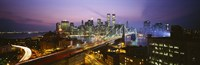 """Buildings lit up at night, World Trade Center, Manhattan, New York City, New York State, USA by Panoramic Images - 27"""" x 9"""""""