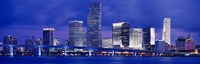 """Miami skyline at night, Florida by Panoramic Images - 27"""" x 9"""""""