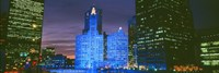 """Wrigley Building, Blue Lights, Chicago, Illinois, USA by Panoramic Images - 27"""" x 9"""""""