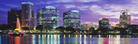 Panoramic View Of An Urban Skyline At Night, Orlando, Florida, USA Fine Art Print