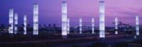 Light sculptures lit up at night, LAX Airport, Los Angeles, California, USA Fine Art Print