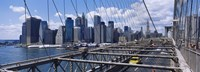 "Traffic on a bridge, Brooklyn Bridge, Manhattan, New York City, New York State by Panoramic Images - 27"" x 9"""