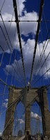 """Low angle view of a bridge, Brooklyn Bridge, Manhattan (color, vertical) by Panoramic Images - 9"""" x 27"""""""