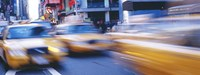 """Yellow taxis on the road, Times Square, Manhattan, New York City, New York State, USA by Panoramic Images - 27"""" x 9"""""""
