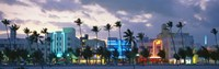 "Buildings Lit Up At Dusk, Ocean Drive, Miami Beach, Florida, USA by Panoramic Images - 27"" x 8"""