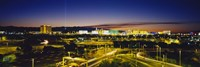 High angle view of buildings lit up at dusk, Las Vegas, Nevada, USA Fine Art Print