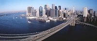 "Aerial View Of Brooklyn Bridge, Lower Manhattan, NYC, New York City, New York State, USA by Panoramic Images - 27"" x 9"""