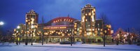 """Facade Of A Building Lit Up At Dusk, Navy Pier, Chicago, Illinois, USA by Panoramic Images - 27"""" x 9"""""""