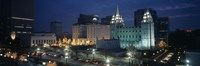 "Temple lit up at night, Mormon Temple, Salt Lake City, Utah, USA by Panoramic Images - 27"" x 9"""