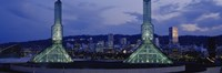 """Towers Lit Up At Dusk, Convention Center, Portland, Oregon, USA by Panoramic Images - 27"""" x 9"""" - $28.99"""