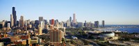 """Colorful View of Chicago from the Sky by Panoramic Images - 27"""" x 9"""""""