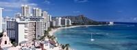 "Buildings at the waterfront, Waikiki Beach, Honolulu, Oahu, Maui, Hawaii, USA by Panoramic Images - 27"" x 9"", FulcrumGallery.com brand"