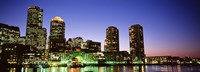"""Skyscrapers at the waterfront lit up at night, Boston, Massachusetts, USA by Panoramic Images - 27"""" x 9"""""""