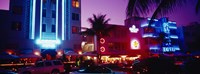 """Hotel lit up at night, Miami, Florida, USA by Panoramic Images - 27"""" x 9"""""""