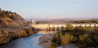 """High angle view of a dam on a river, Nimbus Dam, American River, Sacramento County, California, USA by Panoramic Images - 27"""" x 9"""""""