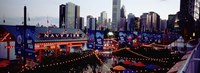 """Amusement Park Lit Up At Dusk, Navy Pier, Chicago, Illinois, USA by Panoramic Images - 27"""" x 9"""", FulcrumGallery.com brand"""