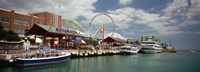 """Boats moored at a harbor, Navy Pier, Chicago, Illinois, USA by Panoramic Images - 27"""" x 9"""", FulcrumGallery.com brand"""