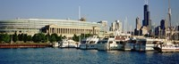 """Boats Moored At A Dock, Chicago, Illinois, USA by Panoramic Images - 27"""" x 9"""", FulcrumGallery.com brand"""