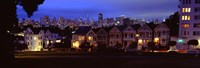 """Buildings Lit Up Dusk, Alamo Square, San Francisco, California, USA by Panoramic Images - 27"""" x 9"""""""
