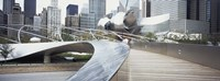 """Footbridge in a park, Millennium Park, Chicago, Illinois, USA by Panoramic Images - 27"""" x 9"""", FulcrumGallery.com brand"""