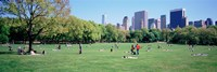 """Group Of People In A Park, Sheep Meadow, Central Park, NYC, New York City, New York State, USA by Panoramic Images - 27"""" x 9"""""""